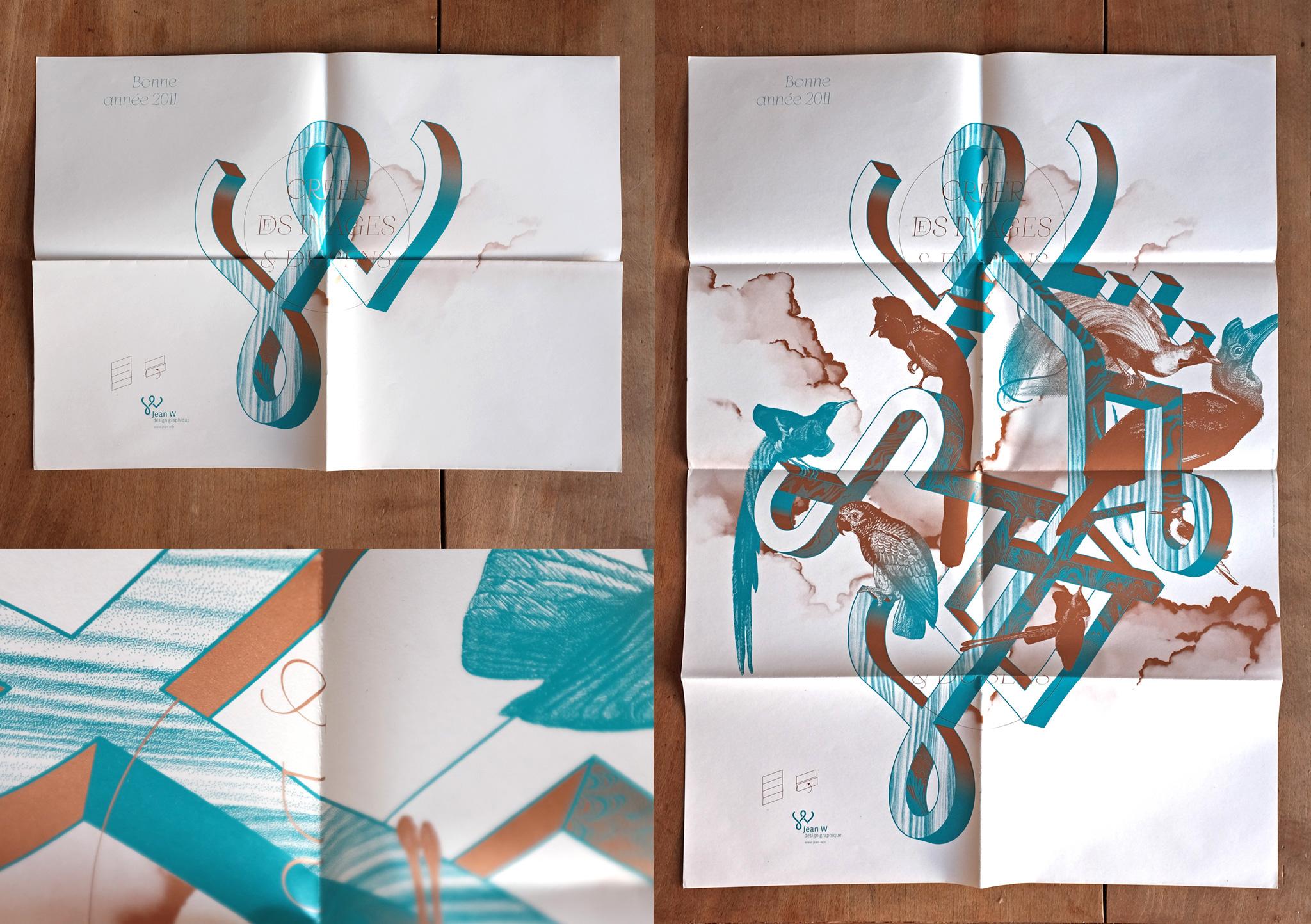 Affiche vœux - 2 couleurs Pantone dont un métal.