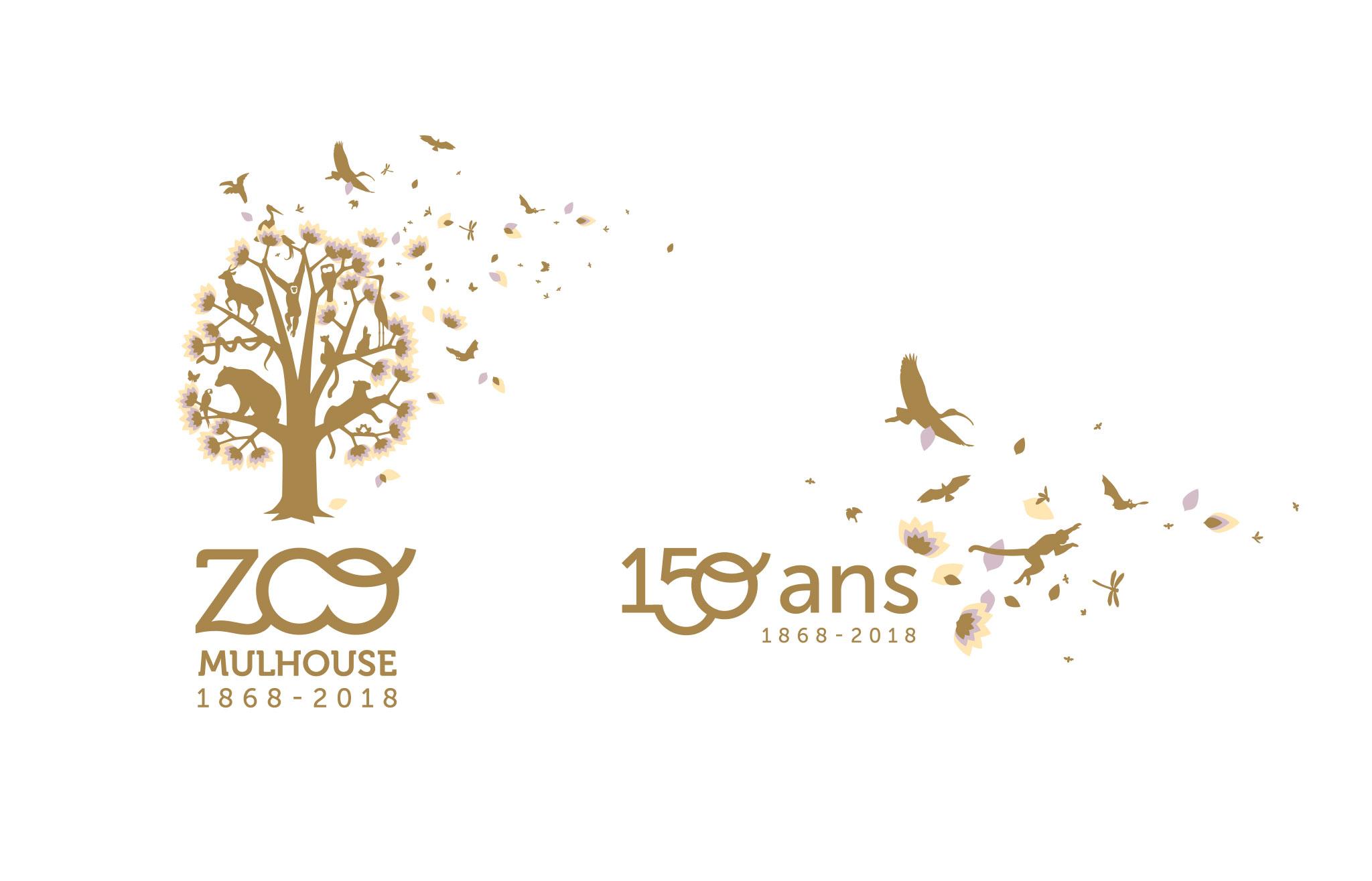 Logo anniversaire 150 ans Parc zoologique Mulhouse Alsace